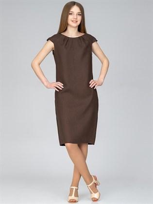 Платье изо льна прямого кроя