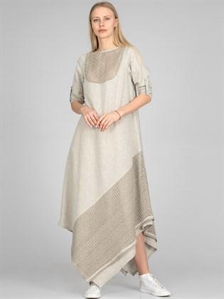 Платье льняное с трикотажем