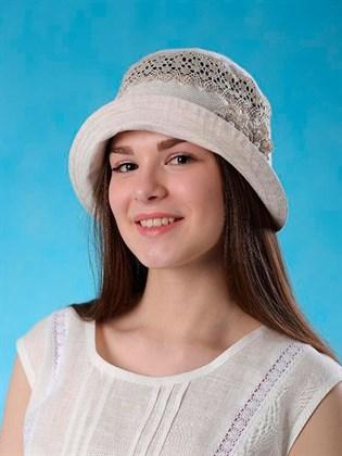 """Льняная шляпка с кружевом """"Селена"""""""