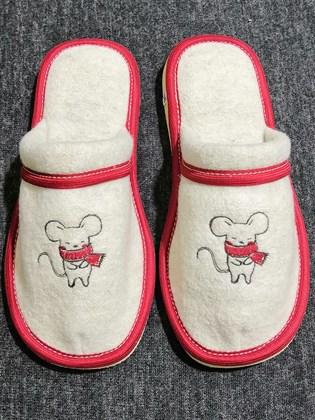 Тапки с закрытым носком из валяной шерсти