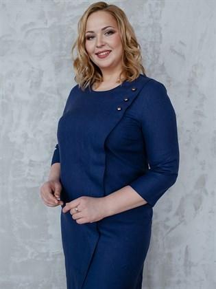 Платье льняное синие