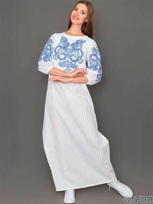 Длинное платье с печатным рисунком