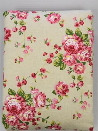Комплект постельного белья из льна Евро - Розовые розочки