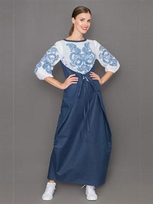 Длинное платье с печатным рисунком из льна