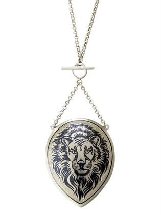 Подвеска серебряная с цепью Лев