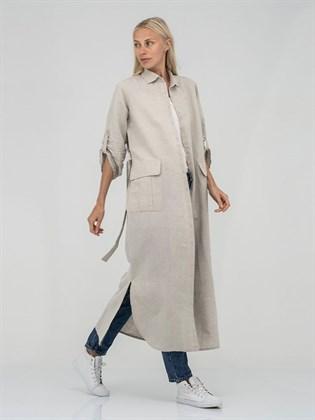 Платье-рубашка из льна