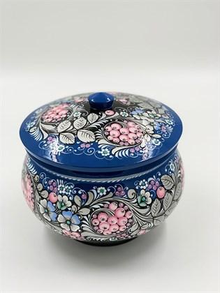Супница - голубая роспись по серебру