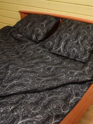 Комплект постельного белья черный с серебром - двуспальный