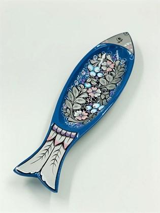 Лоток рыбка роспись по серебру