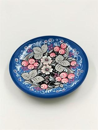 Тарелка малая роспись по серебру