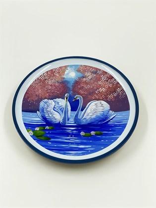 Тарелка большая с лебедями (сложный пейзаж)