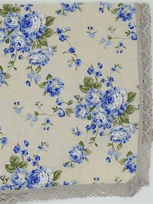 Скатерть с кружевом Голубые розочки 140х210 см