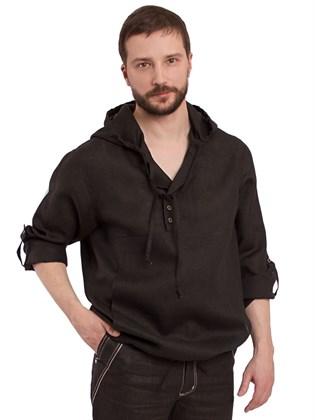 Рубашка льняная с капюшоном