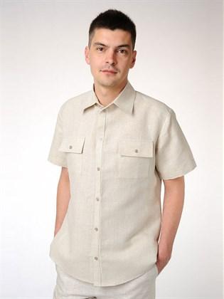 Классическая мужская рубашка приталенная с коротким рукавом