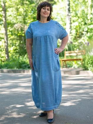 Платье льняное вязаное