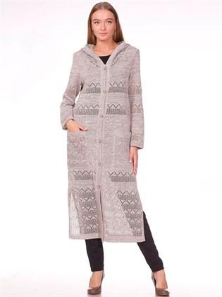Вязаное льняное пальто с капюшоном