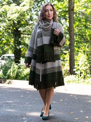 Пальто с шарфом из льна и шерсти