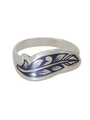 Кольцо из серебра Перышки